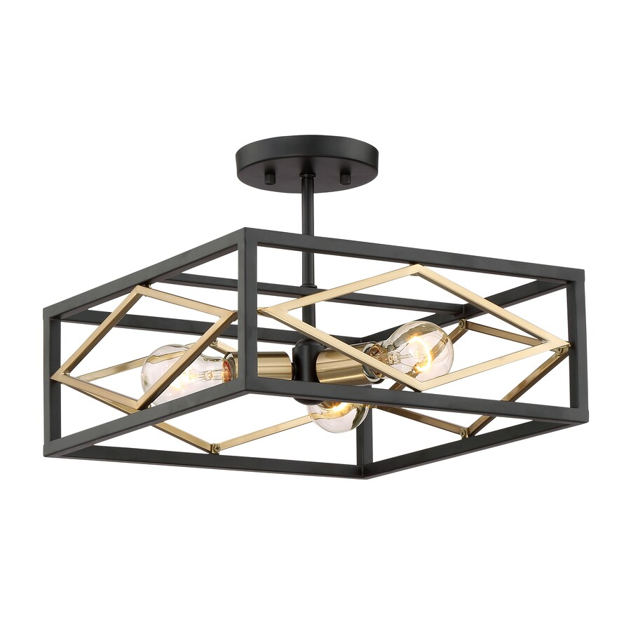 Black And Gold Ceiling Fan Quoizel Platform 14 In W Black With Gold Semi Flush Mount Light At
