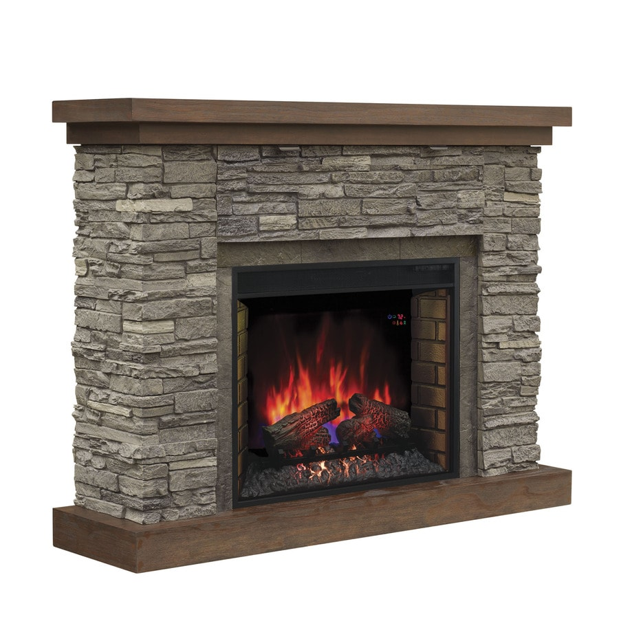 Glass Fireplace Doors Lowes Chimney Free 54 In W 5 200 Btu Cappuccino Brown Ash Wood Infrared