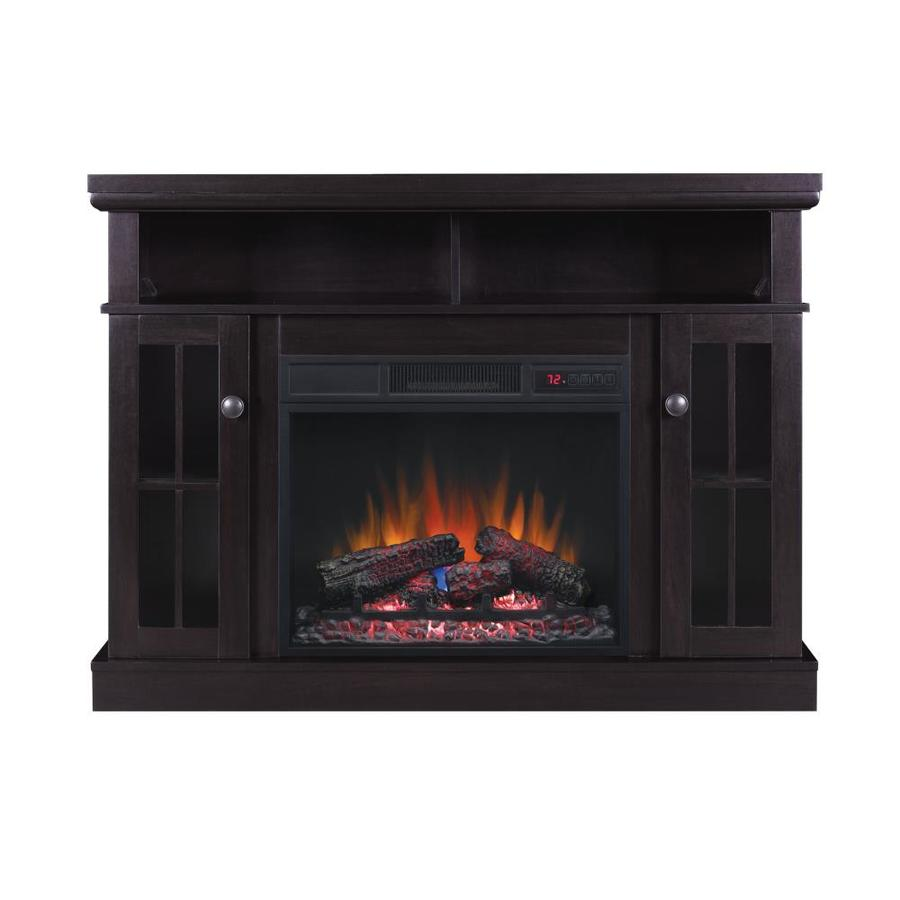 Glass Fireplace Doors Lowes Chimney Free 47 75 In W Espresso Fan Forced Electric Fireplace At