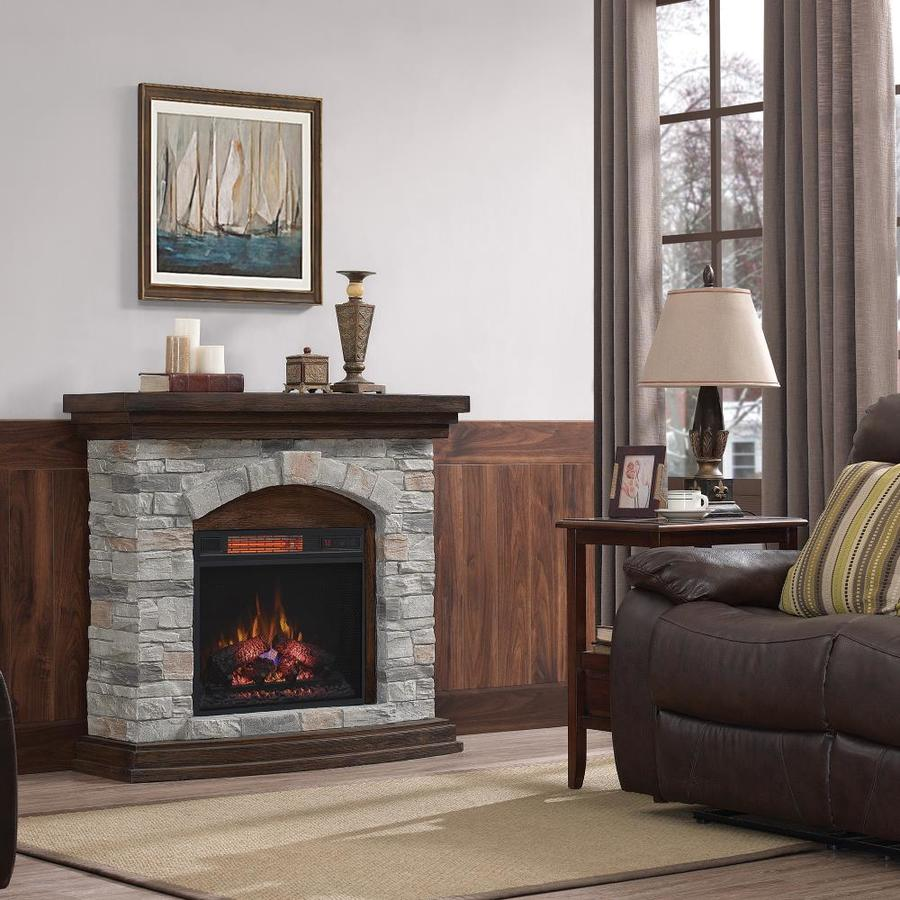 Living Room Electric Fireplace Duraflame 45 In W Aged Coffee Infrared Quartz Electric Fireplace