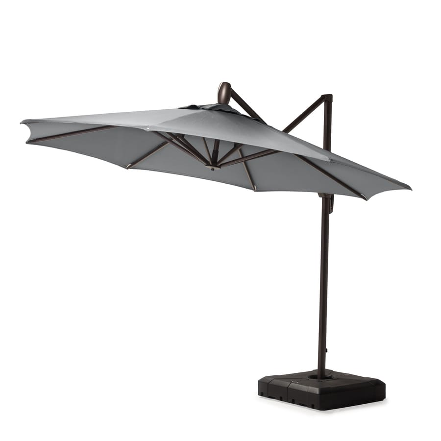 Rst Brands 10 Ft Charcoal Grey Push Button Tilt Cantilever Patio Umbrella With Base In The Patio Umbrellas Department At Lowes Com