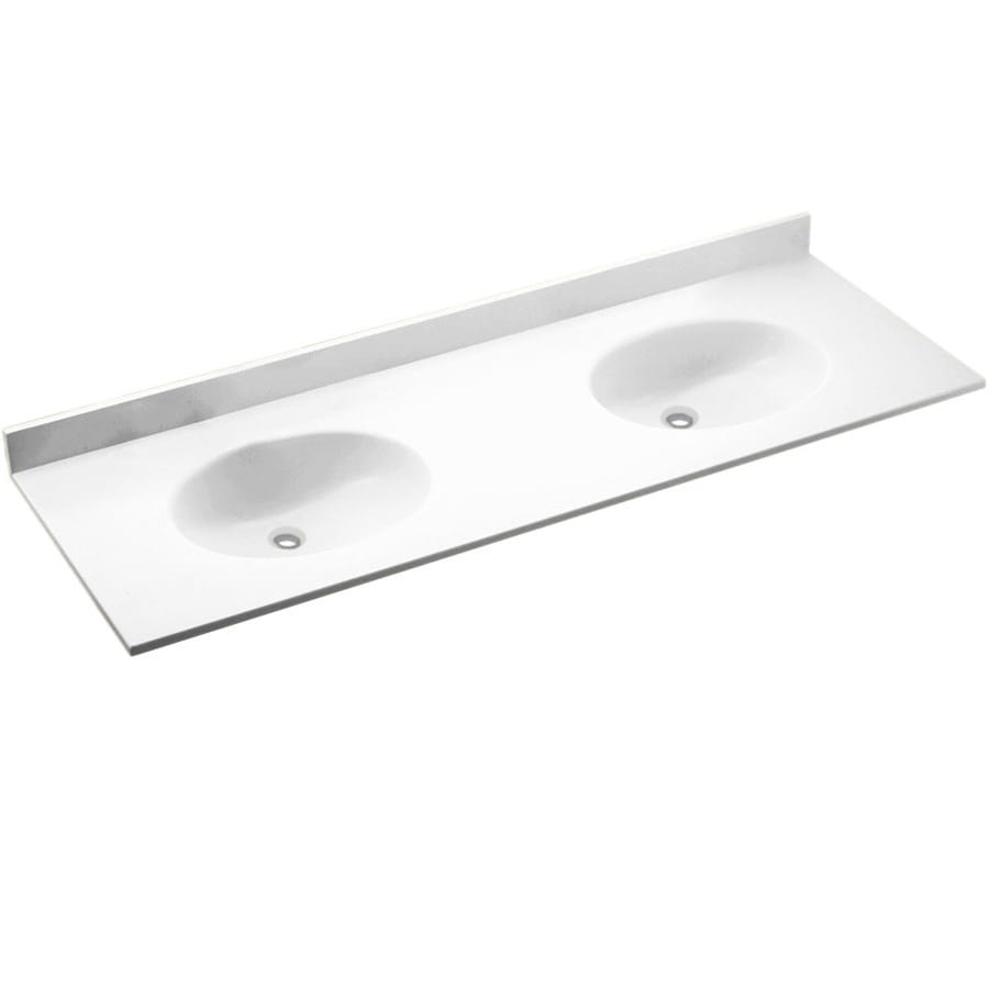 Double Sink Bathroom Vanity With Top Swanstone Chesapeake White Solid Surface Intergral Double Sink