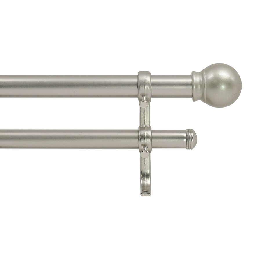 Brushed Nickel Double Curtain Rod Style Selections 28 In To 48 In Nickel Steel Double Curtain Rod At