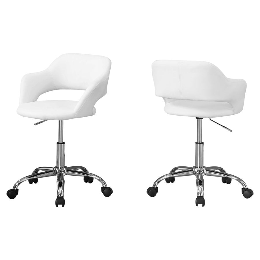 Monarch Specialties White Contemporary Ergonomic Adjustable Height Swivel Desk Chair In The Office Chairs Department At Lowes Com