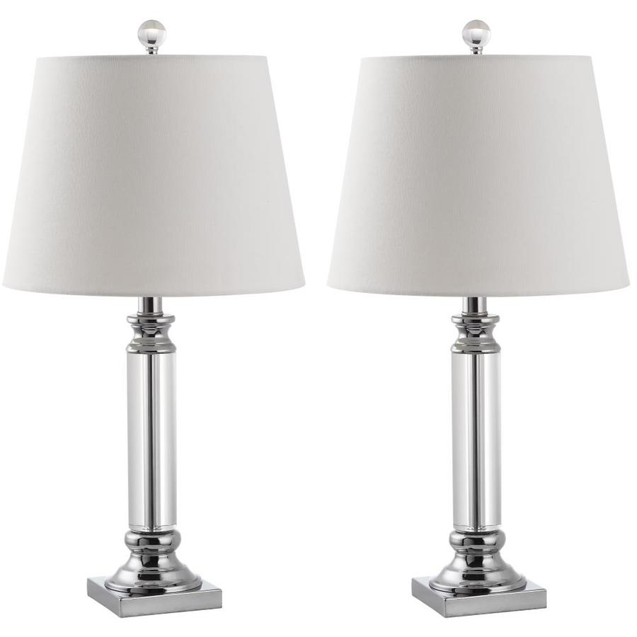 Crystal Lamp Safavieh Zara 2 Piece Crystal Lamp Set With Off White Shades At