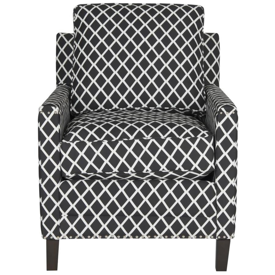 Black And White Accent Chair Safavieh Buckler Casual Black White Linen Accent Chair At Lowes