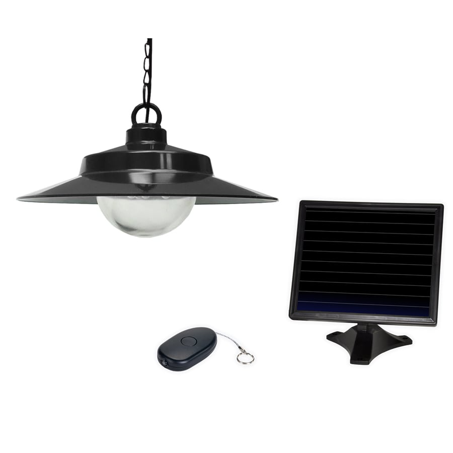 Outdoor Hanging Lamps Sunforce 5 31 In Black Solar Outdoor Pendant Light At Lowes