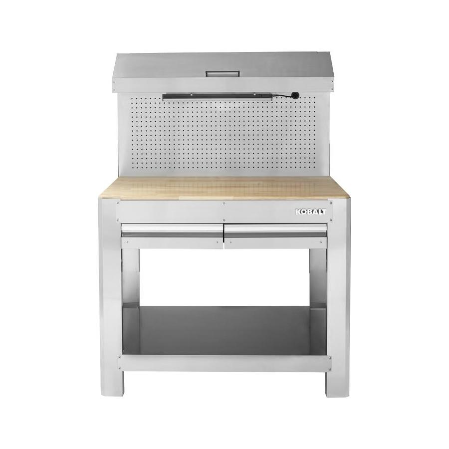 Maximum Heavy Duty Workbench Kobalt 45 In W X 36 In H 2 Drawer Hardwood Work Bench At Lowes
