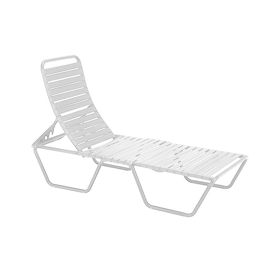 White Sun Lounge Sun Isle Parker Stackable Metal Stationary Chaise Lounge Chair