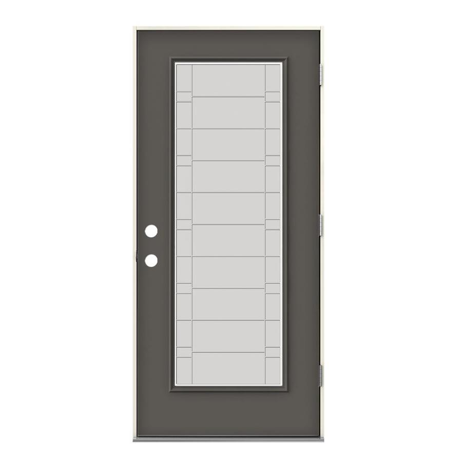 Timber Glass Doors Jeld Wen Full Lite Decorative Glass Left Hand Outswing Timber Gray