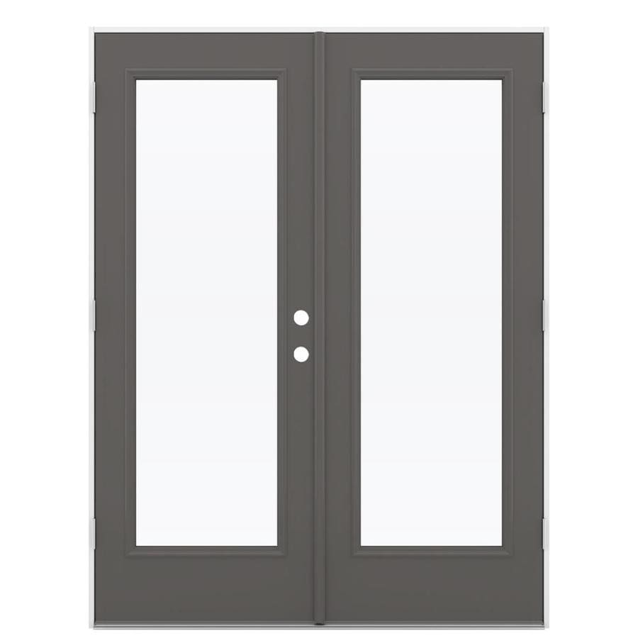 Timber Glass Doors Jeld Wen French Clear Glass Timber Gray Steel Right Hand Outswing