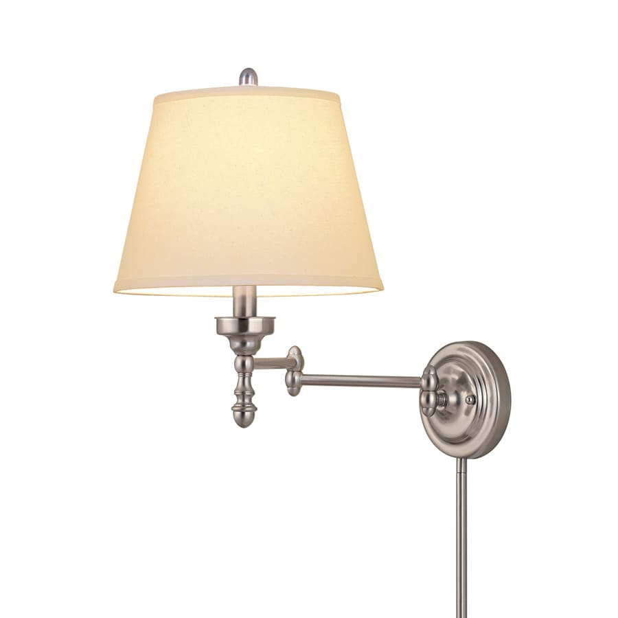 Swing Wall Lamp Allen Roth 15 63 In H 3 Way Brushed Nickel Swing Arm Fabric