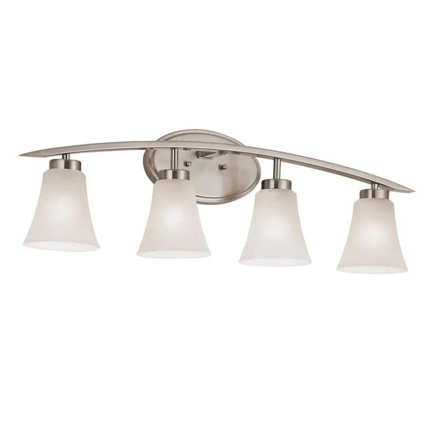 Portfolio lyndsay 4 light 9 17 in brushed nickel bell vanity light bar