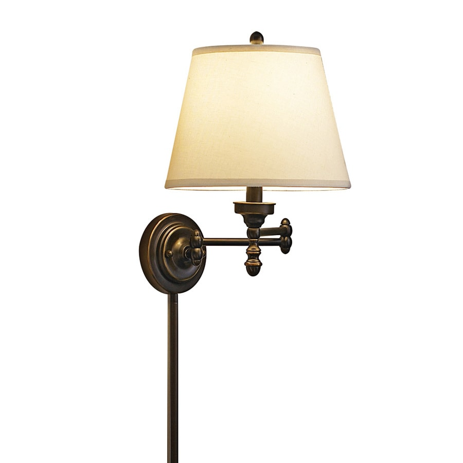 Swing Wall Lamp Allen Roth 15 62 In H Oil Rubbed Bronze Swing Arm Wall Mounted