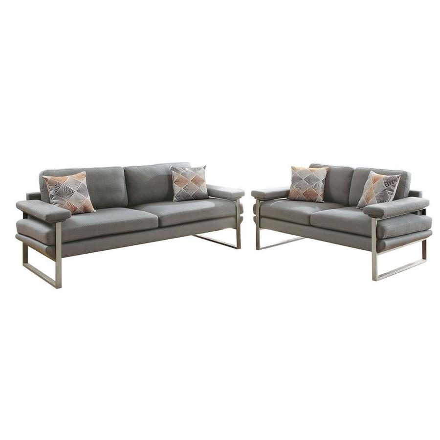 Sofa Set Action Poundex 2 Piece Orel Grey Living Room Set At Lowes