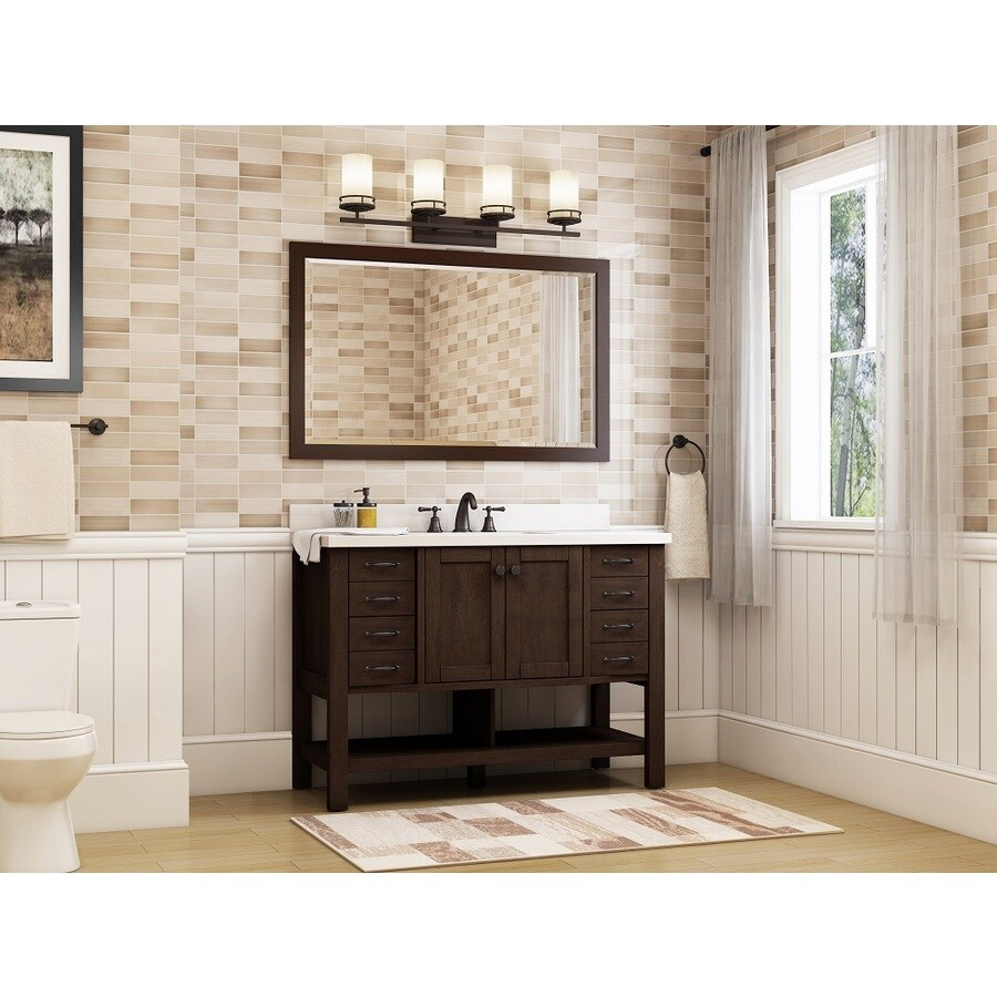 Allen roth kingscote espresso undermount single sink bathroom vanity with engineered stone top common