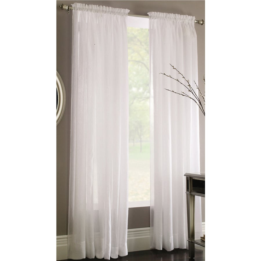 Panel Curtain Rods Style Selections Chloe 84 In White Polyester Rod Pocket Sheer
