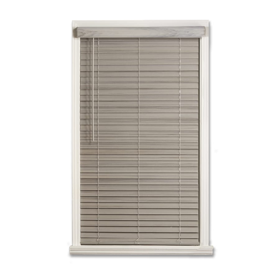 Wooden Door Blinds Allen Roth 2 In Cordless Driftwood Gray Faux Wood Room Darkening
