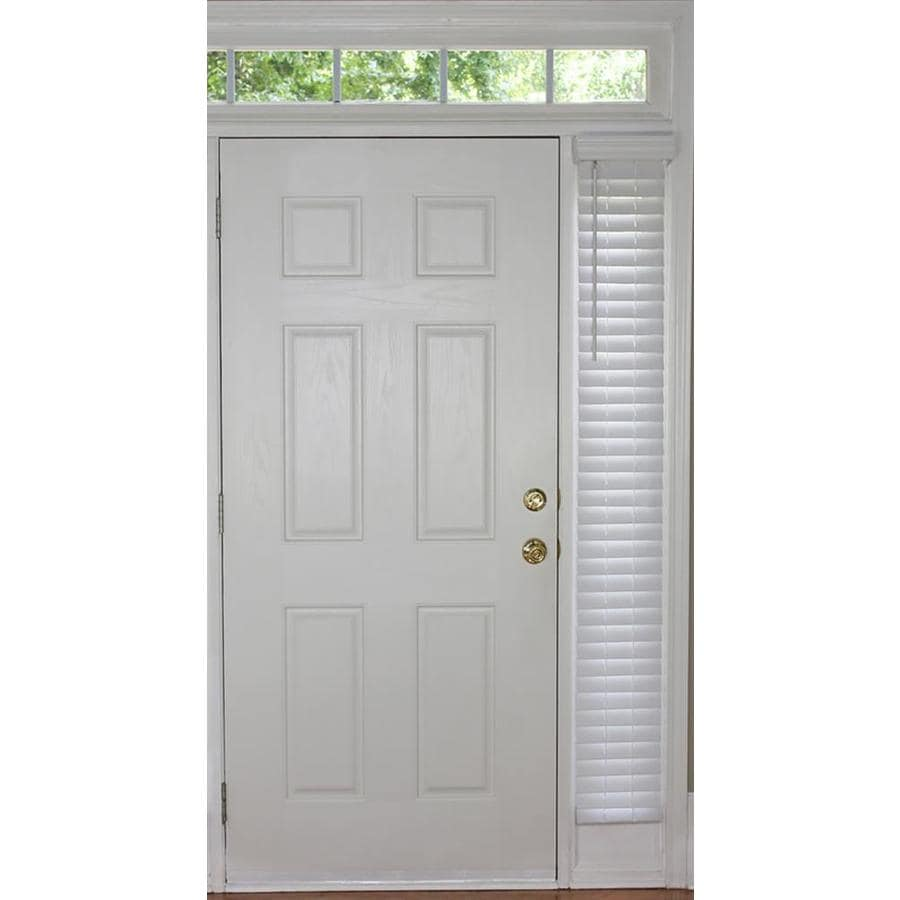 Wooden Door Blinds Allen Roth 2 In Cordless White Room Darkening Faux Wood Blinds