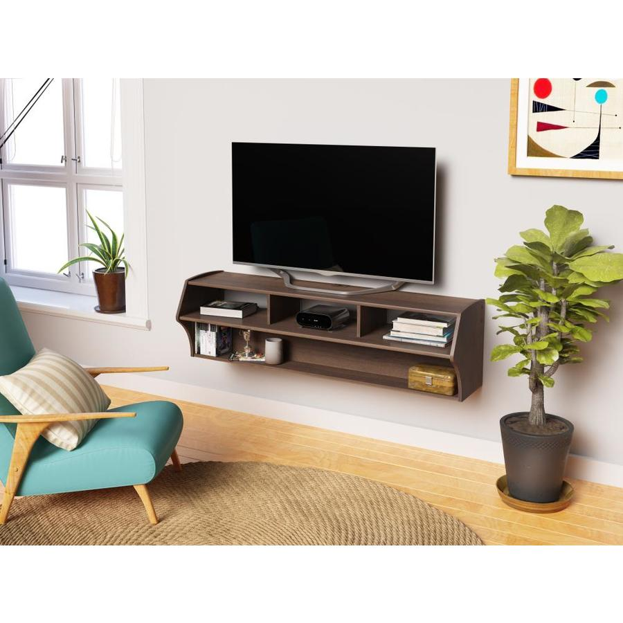 Wood Wall Behind Tv Prepac Altus Espresso Wall Mounted Tv Stand At Lowes