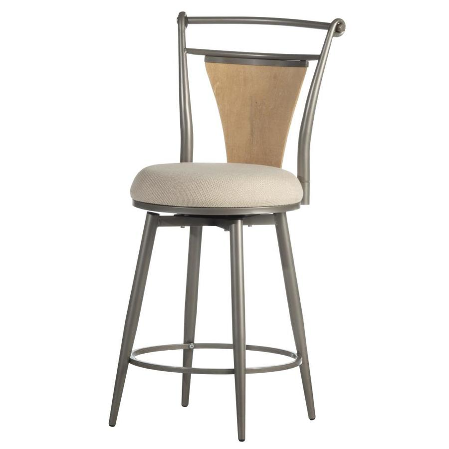 Hillsdale Furniture London Pewter With Maple Wood Counter Height Upholstered Swivel Bar Stool In The Bar Stools Department At Lowes Com