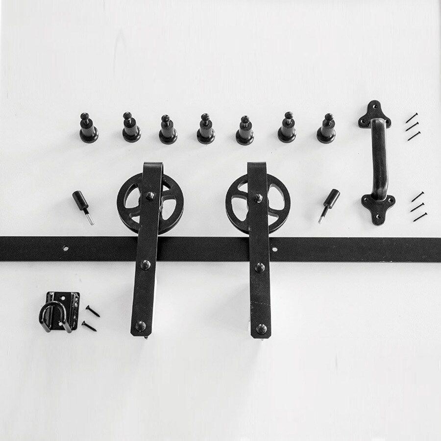Barn Door Wheels Hp 96 In Matte Black Interior Side Mount Barn Door Kit At Lowes