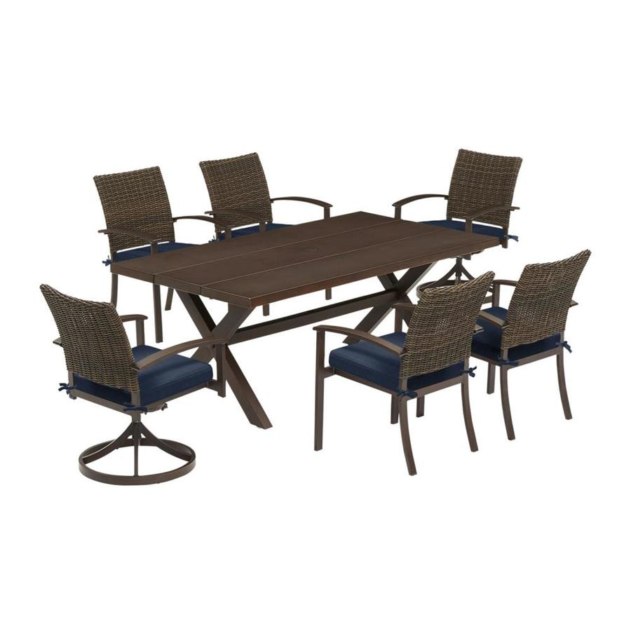 7 Piece Patio Set Atworth Atworth 7 Piece Brown Metal Frame Patio Set With Navy