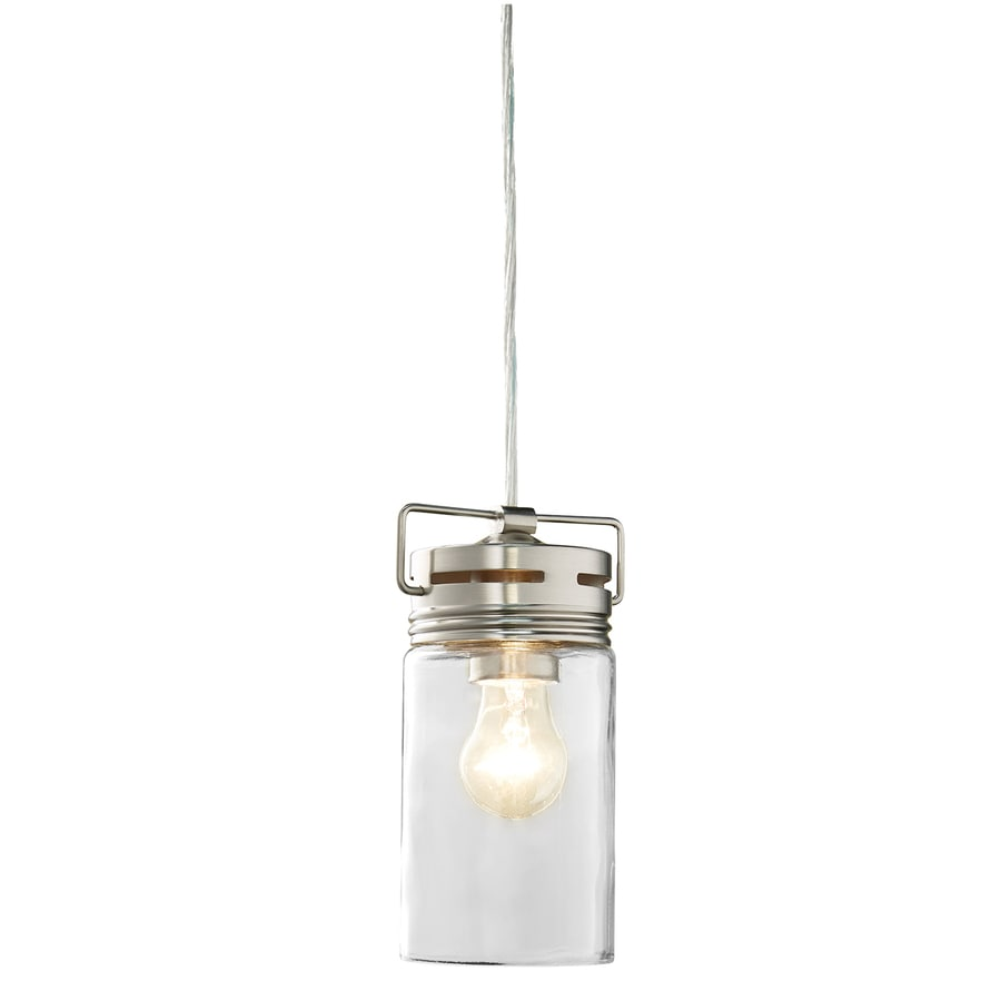 Glass Jar Lamp Shade Allen Roth Vallymede Brushed Nickel Mini Transitional Clear Glass