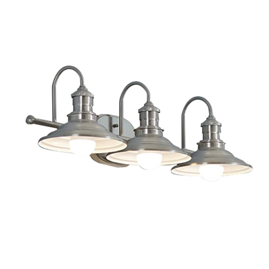 Bathroom Single Light Fixtures Allen Roth Hainsbrook 3 Light 25 98 In Antique Pewter Cone
