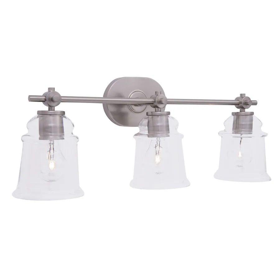 Allen roth winsbrell 3 light 9 24 in brushed nickel bell vanity light
