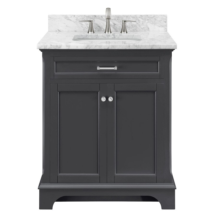 Allen roth roveland gray undermount single sink bathroom vanity with natural marble top common
