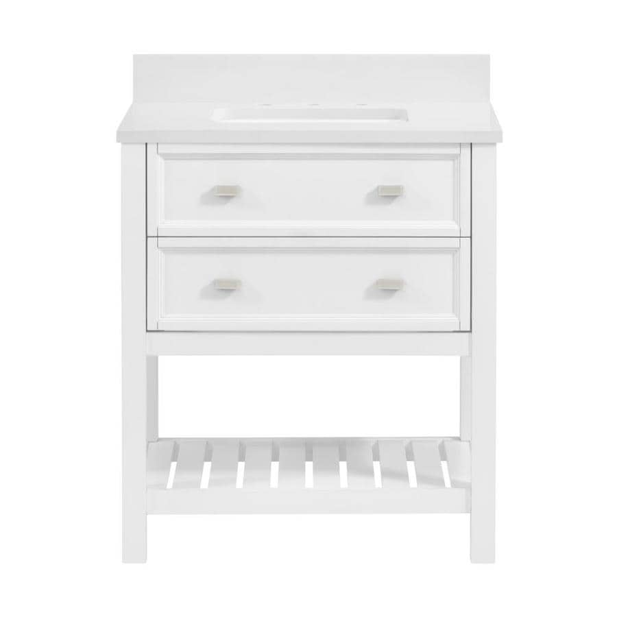 30 Vanity With Drawers Scott Living Canterbury 30 In White Single Sink Bathroom Vanity