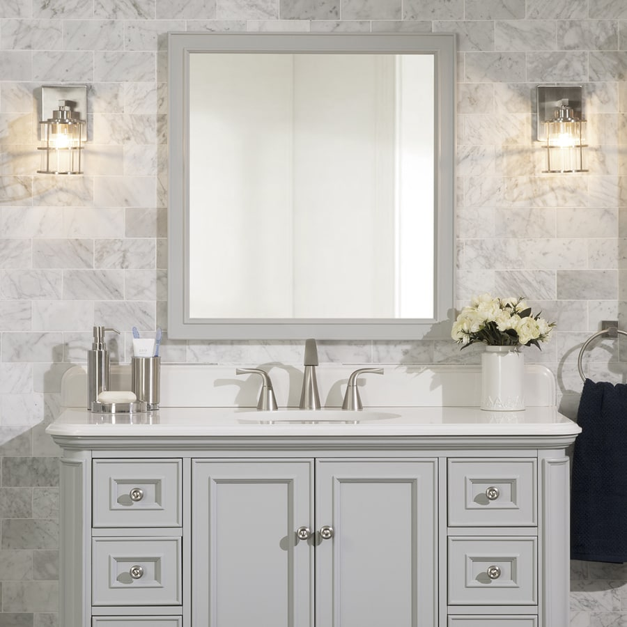 Light Bathroom Mirror Scott Living Wrightsville 28 In Light Gray Rectangular Bathroom