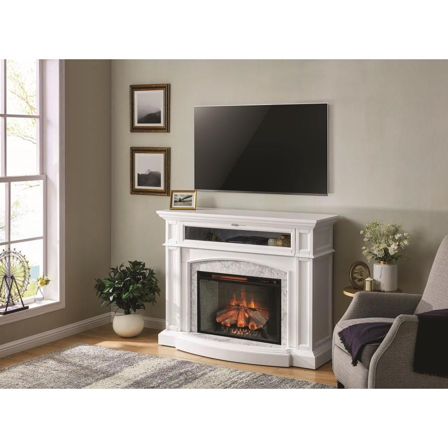 Living Room Electric Fireplace Scott Living 52 5 In W White Infrared Quartz Electric Fireplace At
