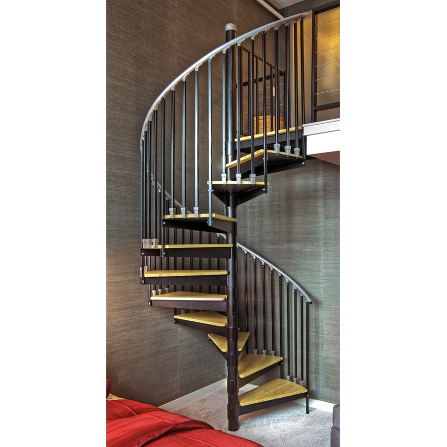 Iron Shop The Iron Shop Ontario 48 In X 10 25 Ft Black Spiral Staircase Kit