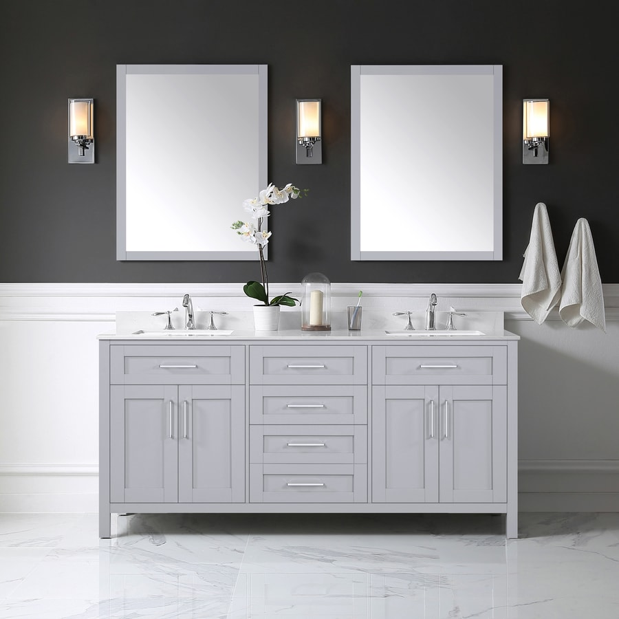 Bathroom Vanity 72 Double Sink Ove Decors Tahoe 72 In Dove Gray Double Sink Bathroom Vanity With