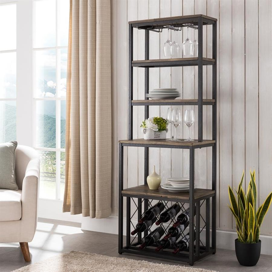 Metal Wine Storage Racks Boston Loft Furnishings Aberdale Rustic Black And Distressed Fir