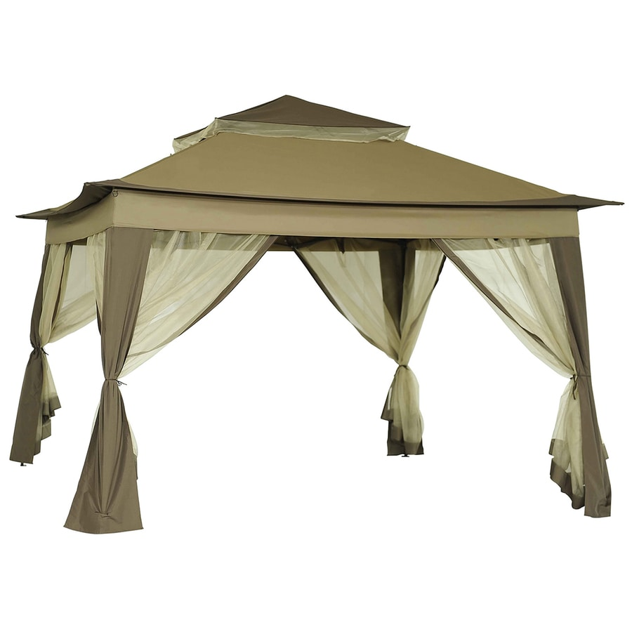 Pop Up Sun Shelter Canada Sunjoy Portia Beige Steel Square Pop Up Gazebo Exterior 10 8 Ft