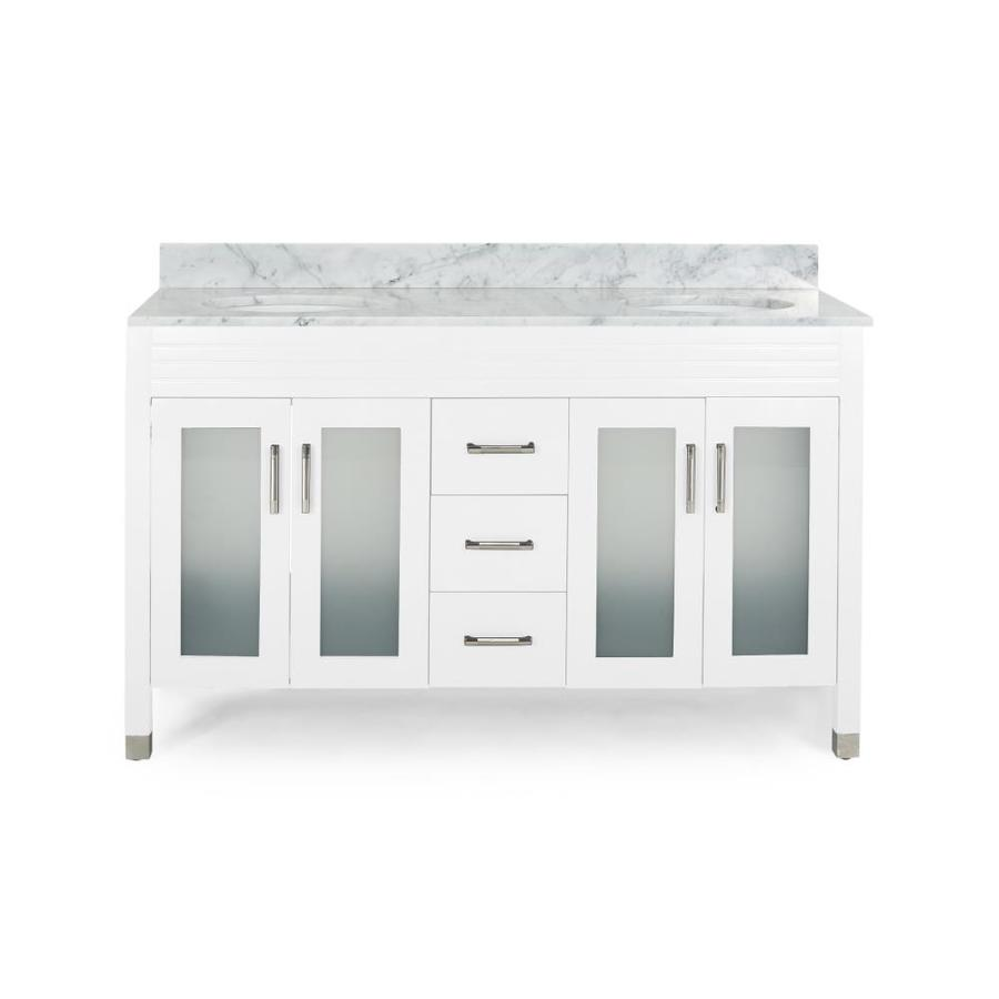 Best Selling Home Decor Holdame 60 In White Undermount Double Sink Bathroom Vanity With Carrara White Marble Top In The Bathroom Vanities With Tops Department At Lowes Com