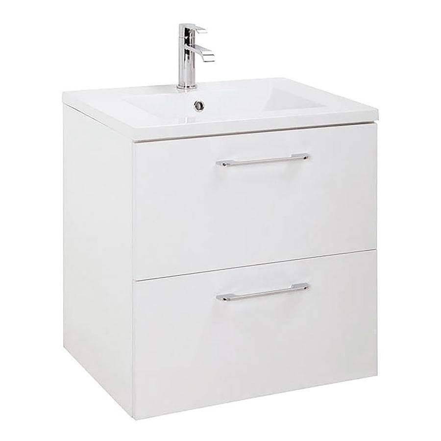 Randalco Happy 24 In White Drop In Single Sink Bathroom Vanity With Glossy White Ceramic Top Mirror Included In The Bathroom Vanities With Tops Department At Lowes Com