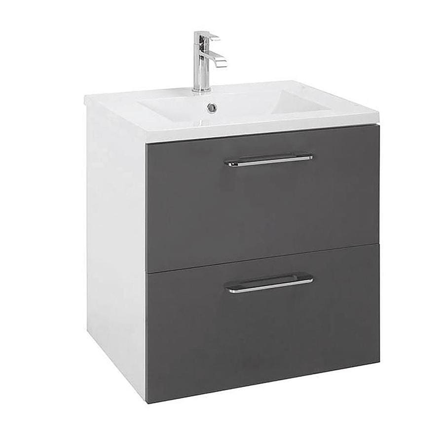 Randalco Happy 24 In Grey Drop In Single Sink Bathroom Vanity With Glossy White Ceramic Top Mirror Included In The Bathroom Vanities With Tops Department At Lowes Com