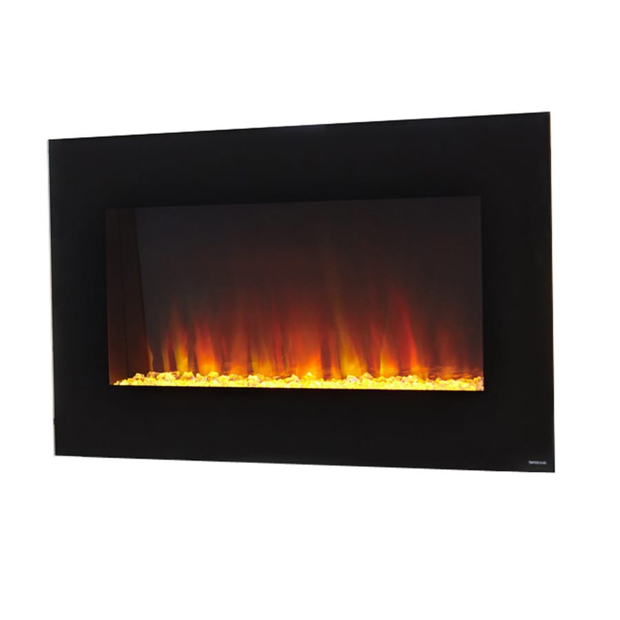 Wall Mount Fireplaces Style Selections 35 5 In W Black Fan Forced Electric Fireplace At