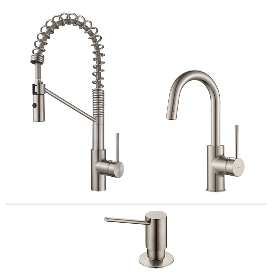 Shop Kraus Kitchen Faucet Set Stainless Steel 1 Handle