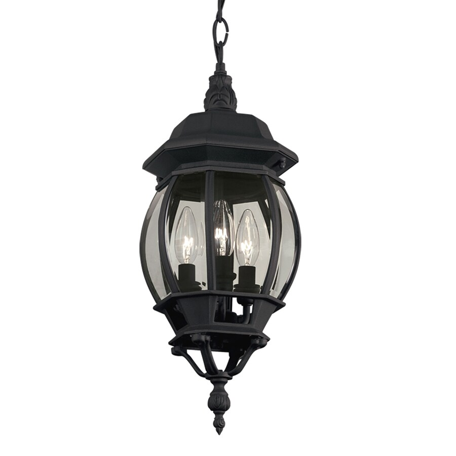 Outdoor Hanging Lamps Portfolio Black Multi Light Traditional Clear Glass Globe Pendant