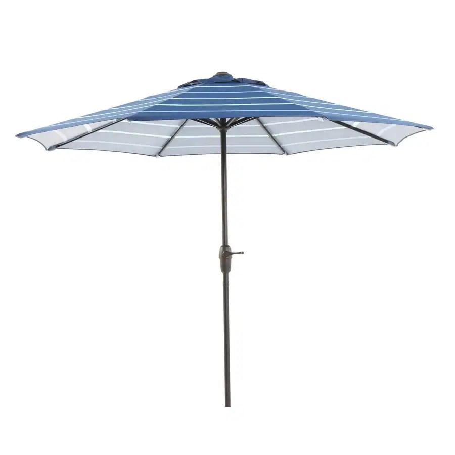 Shop Garden Treasures Blue Stripe Market Patio Umbrella