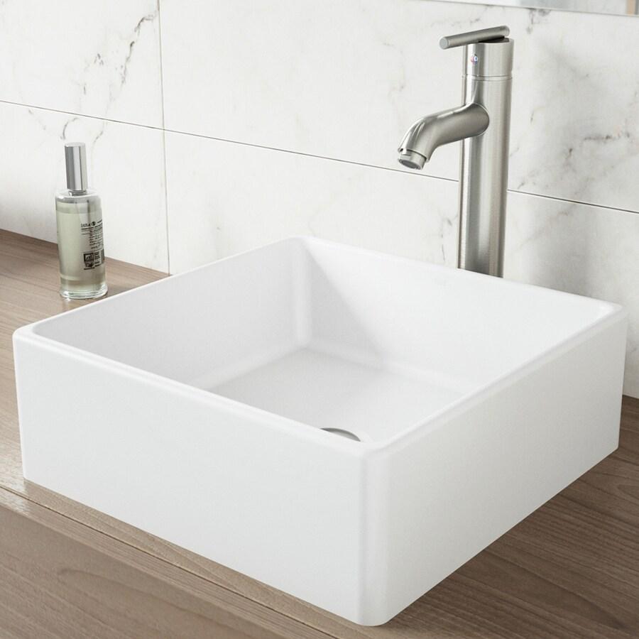 Shop Vigo Vessel Bathroom Sets White Stone Vessel Square