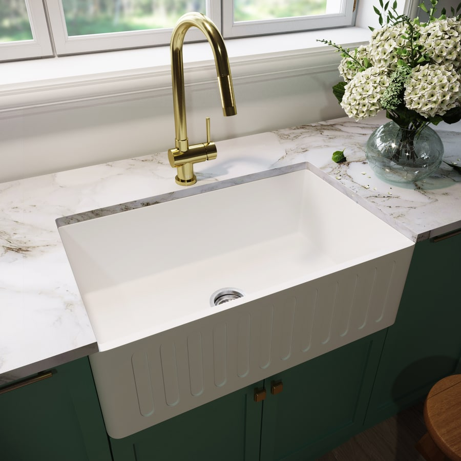 Stone Farmhouse Sink Lowest Price Vigo Matte Stone Farmhouse 30 In X 18 In Matte White Single Basin