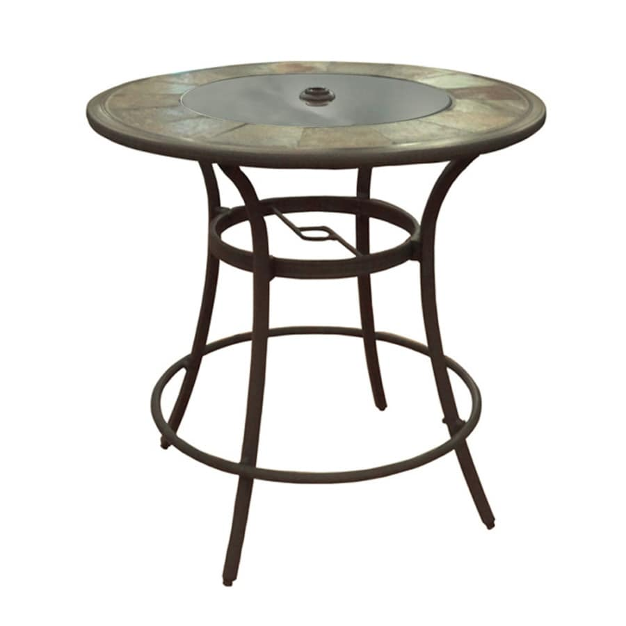 Round Table Patio Furniture Sets Allen Roth Safford 40 In W X 40 In L Round Bar Table At Lowes