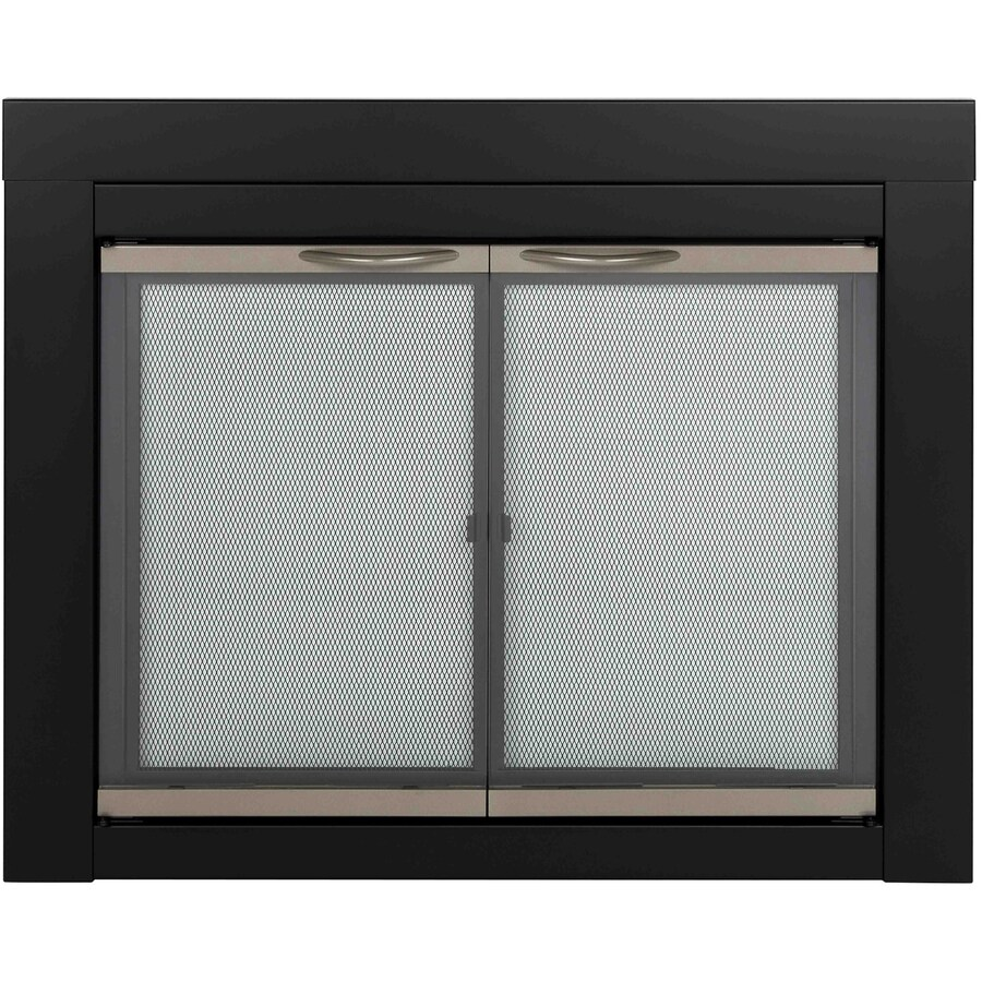 Glass Fireplace Doors Lowes Pleasant Hearth Alsip Black With Sunlight Nickel Trim Medium