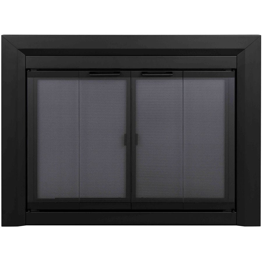 Glass Fireplace Doors Lowes Pleasant Hearth Clairmont Black Small Bi Fold Fireplace Doors With